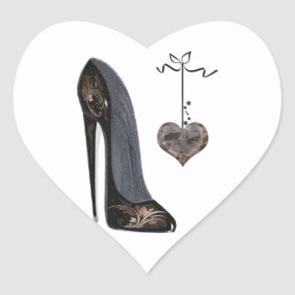 Black Stiletto Shoe and Heart Heart Sticker