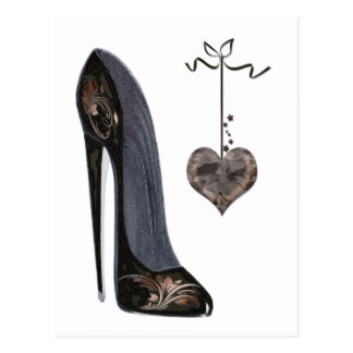 Black Stiletto Shoe and Heart Post Cards