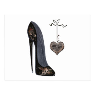 Black stiletto shoe and heart postcards