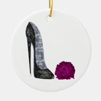 Black stiletto shoe and red rose art ceramic ornament