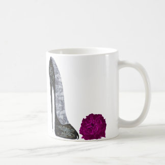 Black stiletto shoe and red rose art coffee mug