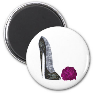 Black Stiletto Shoe and Red Rose Art Magnet