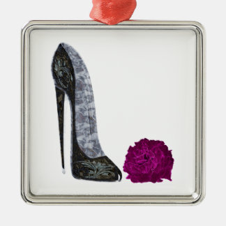 Black Stiletto Shoe and Red Rose Art Metal Ornament