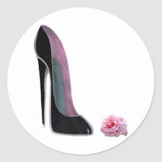 Black Stiletto Shoe and Rose Classic Round Sticker