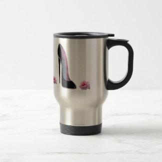 Black Stiletto Shoe and Rose Travel Mug
