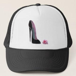 Black Stiletto Shoe and Rose Trucker Hat