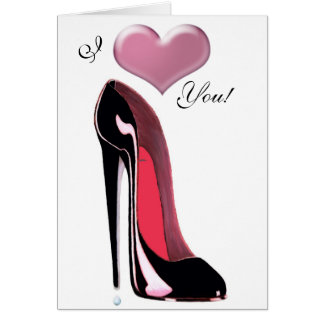 Black Stiletto Shoe Art Greeting Cards
