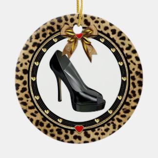 Black Stiletto Shoe Cheetah Custom Ornament