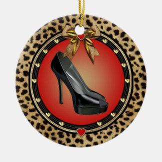 Black Stiletto Shoe Cheetah Print Ornament