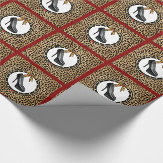 Black Stiletto Shoe Cheetah Print Wrapping Paper