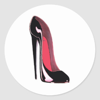 Black Stiletto Shoe Classic Round Sticker