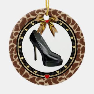 Black Stiletto Shoe Giraffe Print Custom Ornament