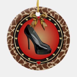 Black Stiletto Shoe Giraffe Print Ornament