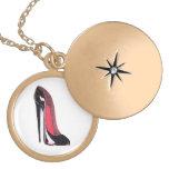 Black Stiletto Shoe Gold Necklace