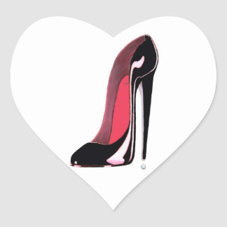 Black stiletto Shoe Heart Sticker