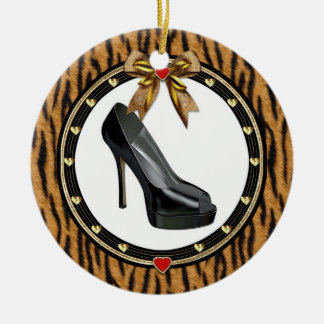 Black Stiletto Shoe Tiger Print Custom Ornament
