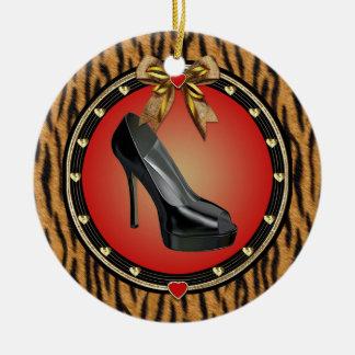 Black Stiletto Shoe Tiger Print Ornament