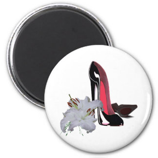 Black Stiletto Shoes and Lilies Art Refrigerator Magnet