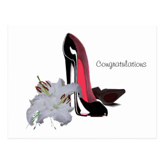 Black Stiletto Shoes and Lilies Art Postcard