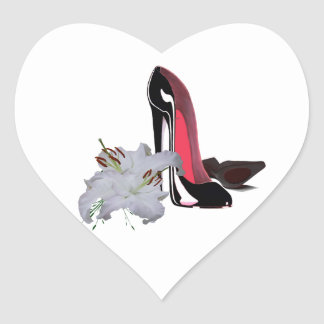 Black Stiletto Shoes and Lilies Heart Sticker