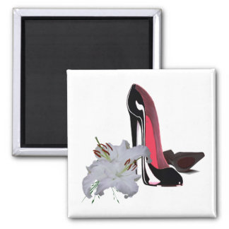 Black Stiletto Shoes and Lilies Magnet