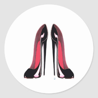 Black Stiletto Shoes Classic Round Sticker