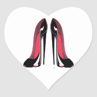 Black Stiletto Shoes Heart Sticker