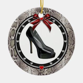 Black Stiletto Snake Print Custom Ornament