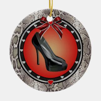 Black Stiletto Snake Print Ornament