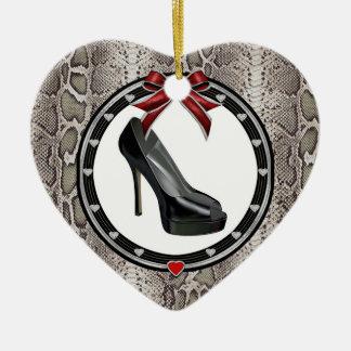 Black Stiletto Snakeskin Custom Heart Ornament