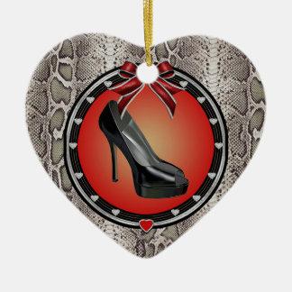 Black Stiletto Snakeskin Heart Ornament