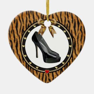 Black Stiletto Tiger Personalized Heart Ornament