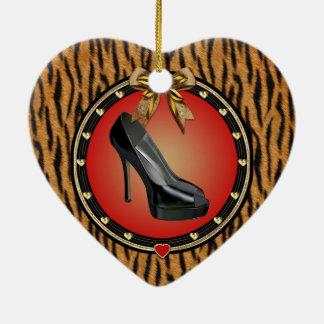 Black Stiletto Tiger Print Heart Ornament