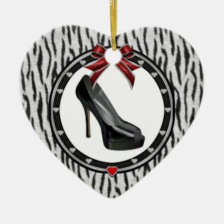 Black Stiletto Zebra Personalized Heart Ornament