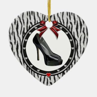 Black Stiletto Zebra Print Custom Heart Ornament