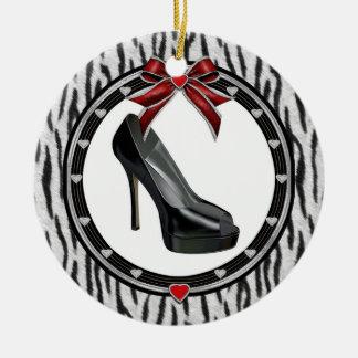 Black Stiletto Zebra Print Custom Ornament