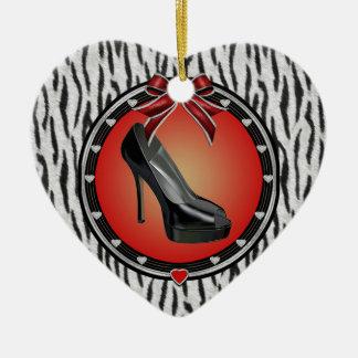 Black Stiletto Zebra Print Heart Ornament
