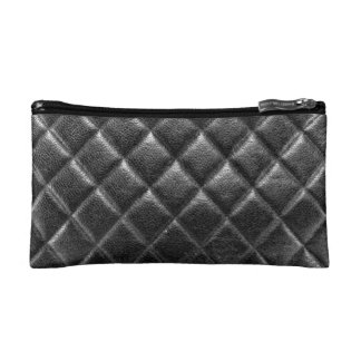 Black stitched leather bag quilted cc caviar