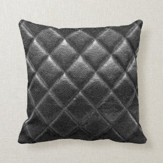 Black stitched leather bag quilted cc caviar throw pillow