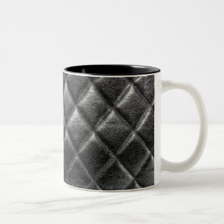 Black stitched leather bag quilted cc caviar Two-Tone coffee mug