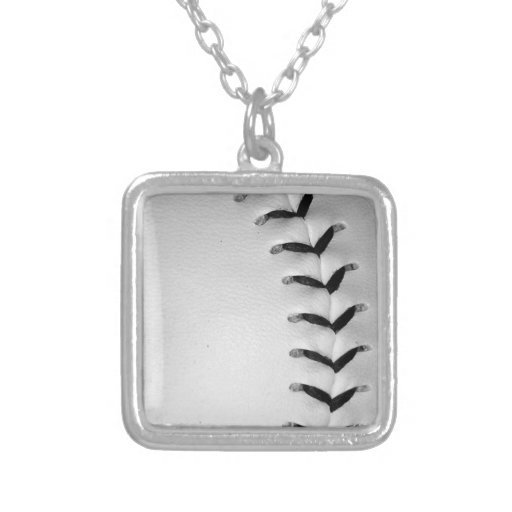 Black Stitches Baseball/Softball Square Pendant Necklace
