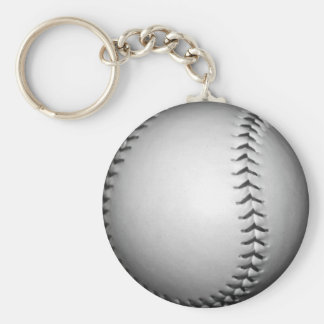 Black Stitches Softball / Baseball Basic Round Button Keychain