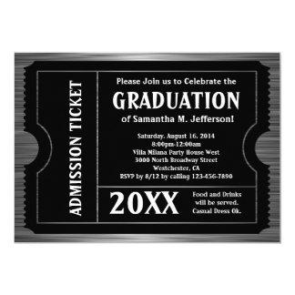 "Black Striated Graduation Ticket Invitation 5"" X 7"" Invitation Card"