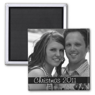Black Strip Christmas Holiday Photo Magnet