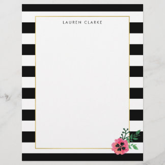 Black Stripe and Pink Floral Personalized