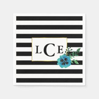Black Stripe & Blue Floral Monogram Napkin