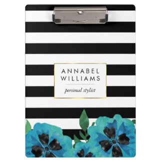 Black Stripe & Blue Floral Personalized Clipboard