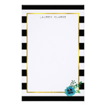 Black Stripe & Blue Flower Personalized Stationery