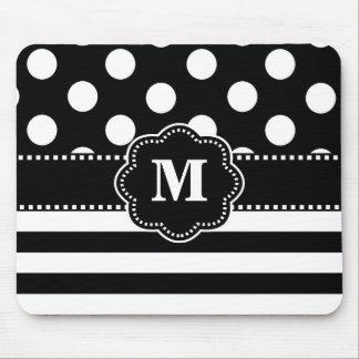Black Stripe Dots Monogram Mouse Pad. Mouse Pad