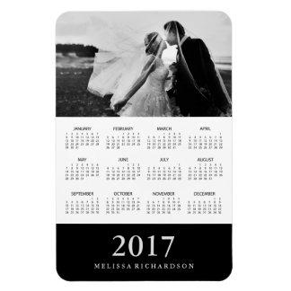 Black Stripe | Elegant 2017 Photo Calendar Rectangular Photo Magnet